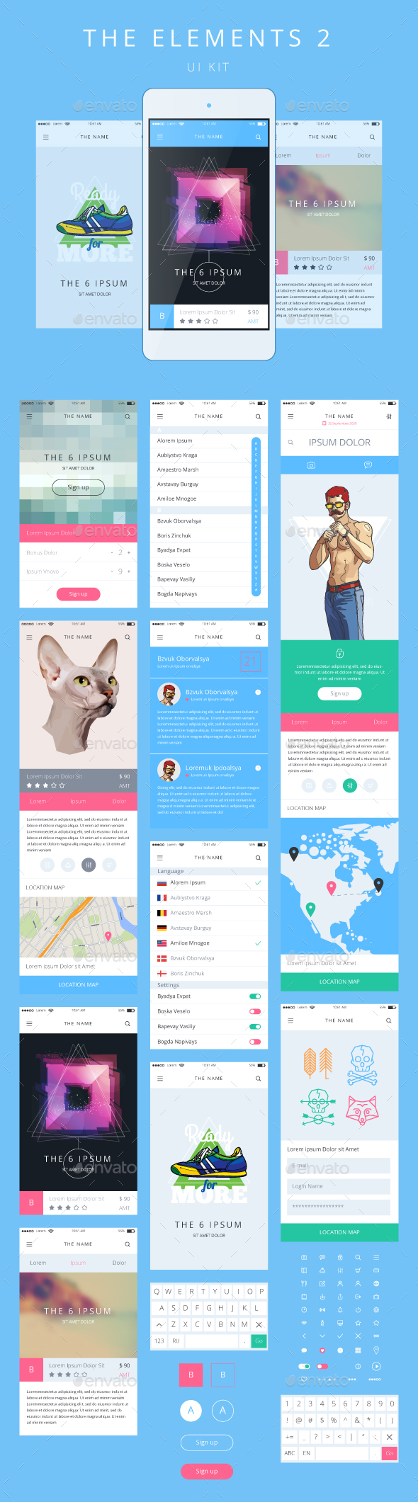 Phone GUI Template Wireframe UI Kit - Web Elements Vectors