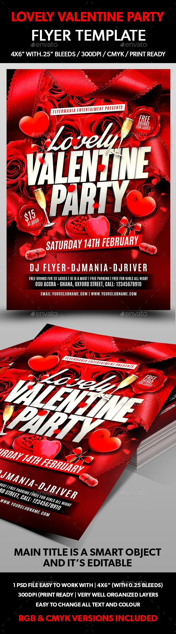 Lovely Valentine Party Flyer Template - Flyers Print Templates