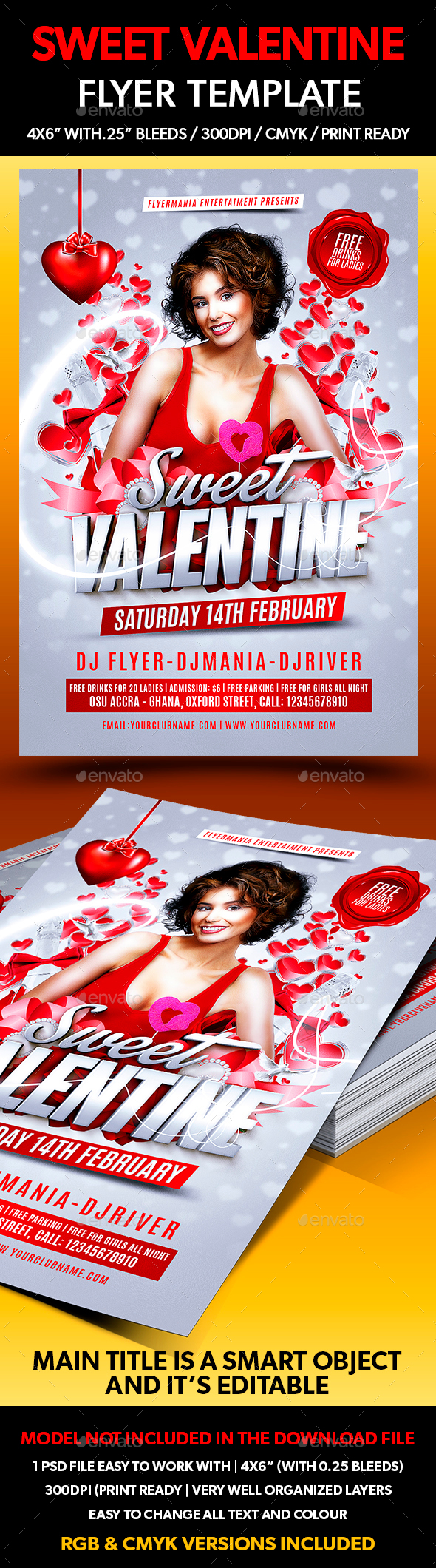 Sweet Valentine Flyer Template - Flyers Print Templates