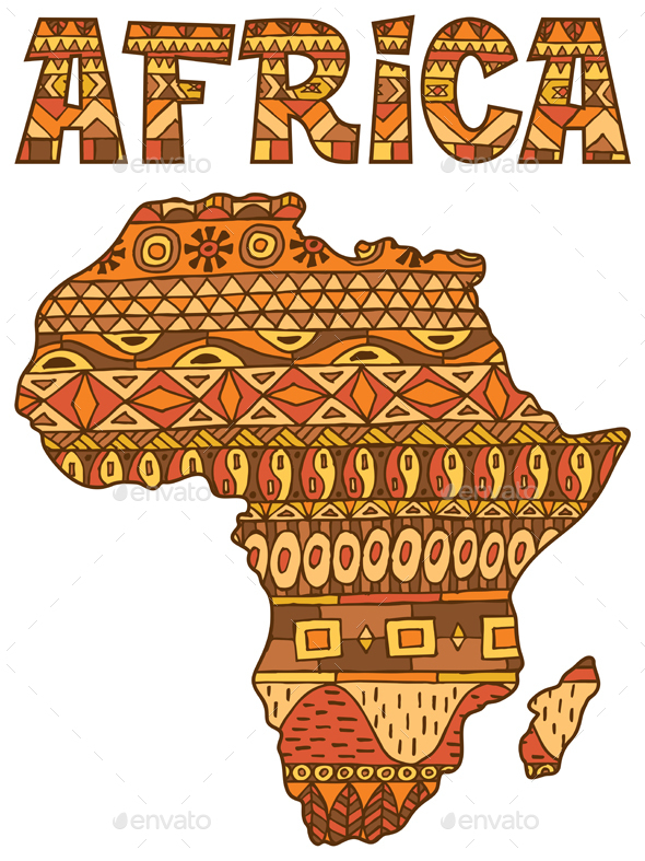 Africa Map Pattern - Abstract Conceptual