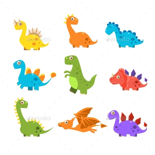 Small Colourful Dinosaur Set. Vector Collection - Monsters Characters