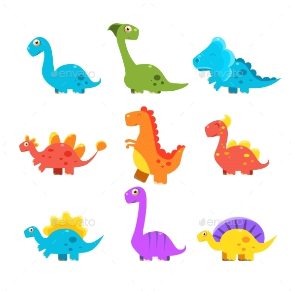 Small Colourful Dinosaur Set. Cute Vector - Monsters Characters