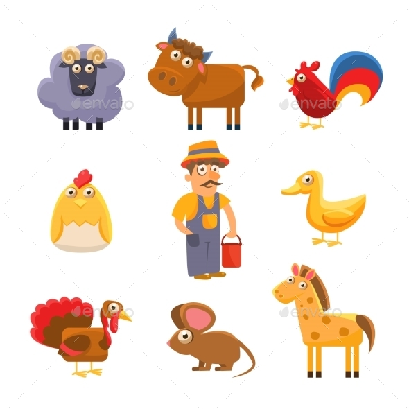 Farm Animal Collection. Colourful Vector - Animals Characters