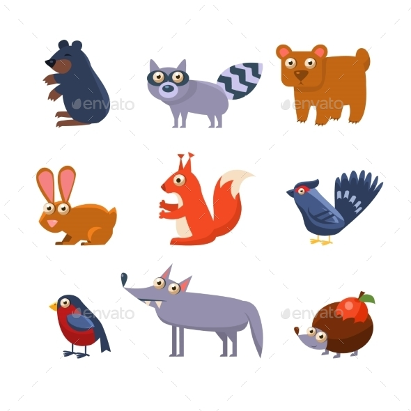 Wild Forest Animals. Vector Illustration - Animals Characters