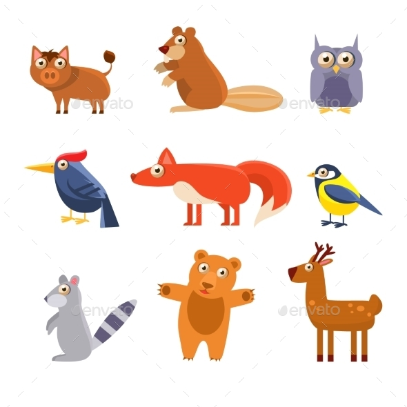 Cute Wild Forest Animals. Vector Illustration - Animals Characters