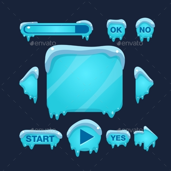 Cartoon Vector Winter Game User Interface - Web Elements Vectors