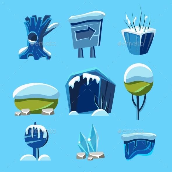 Cartoon Vector Winter Game Nature Elements - Web Technology
