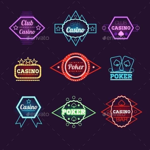Neon Light Poker Club And Casino Emblems - Decorative Symbols Decorative
