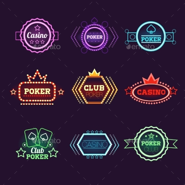 Neon Light Poker Club And Casino Emblems Set - Decorative Symbols Decorative