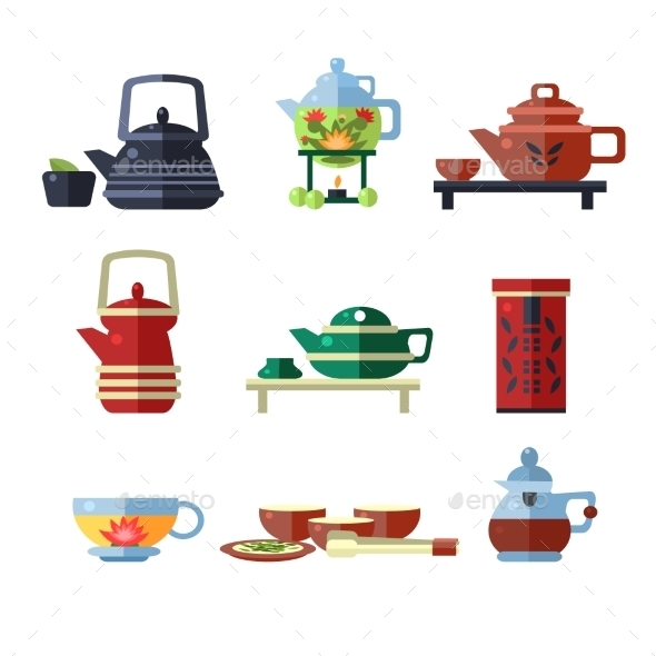 Tea Cup And Kettle Set. Flat Vector Illustration - Decorative Symbols Decorative