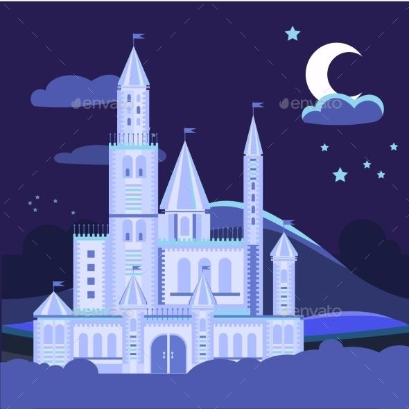 Night Landscape Illustration With Castle Vector - Landscapes Nature