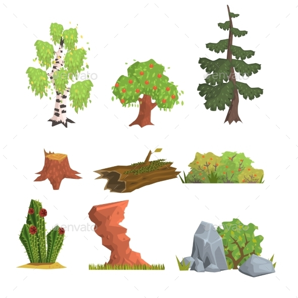 Trees, Bushes And Nature Elements, Vector Set - Flowers & Plants Nature
