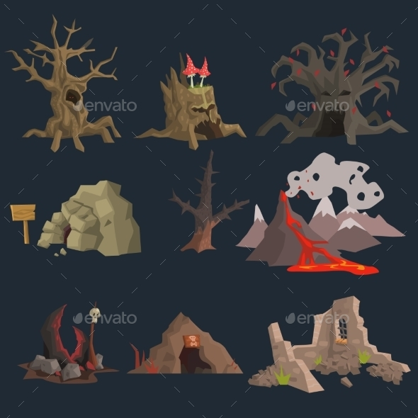 Swamp, Tree And Cave Game Set - Seasons Nature