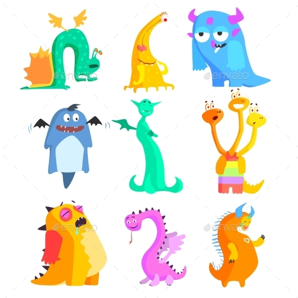 Cute Monsters And Aliens. Colourful Set - Monsters Characters