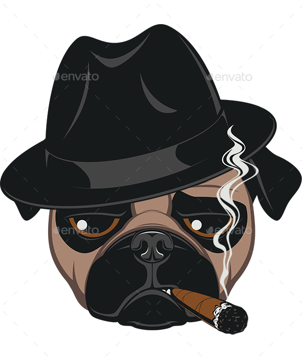 Pug with Cigar - Animals Characters