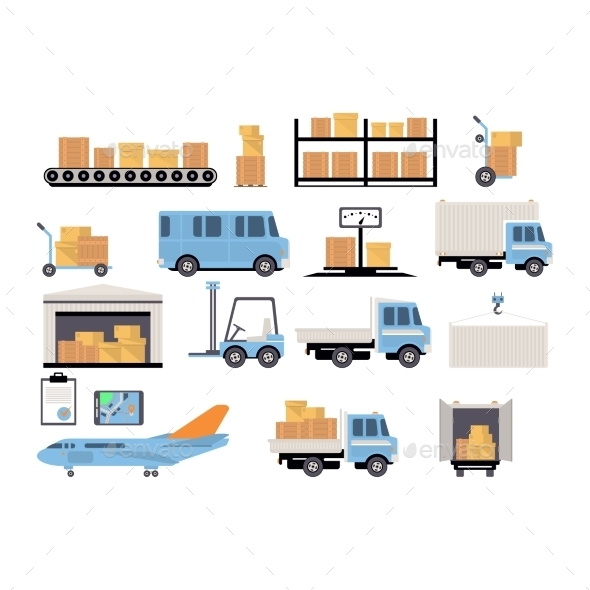 Warehouse Flat Set Of Logistics Packing Process - Retail Commercial / Shopping
