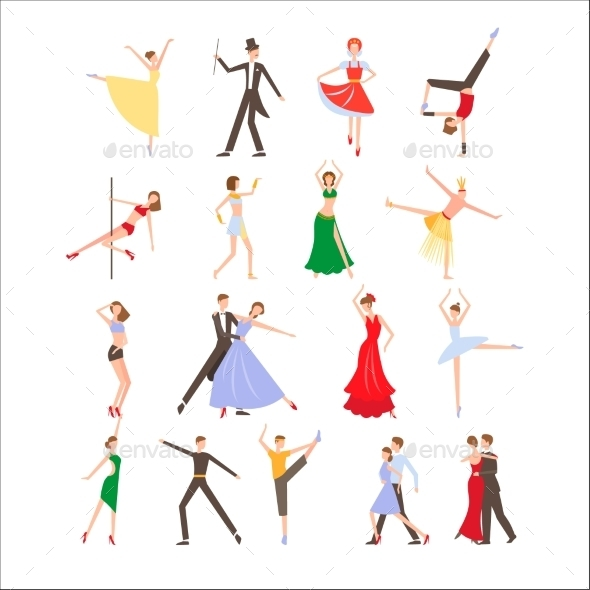 Dance Festival, Different Dance Styles, Flat Icon - Web Technology