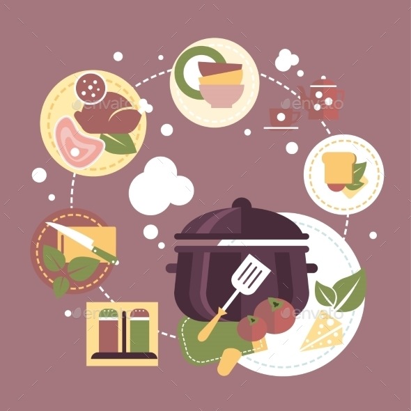 Cooking Dishes Vector Infographics - Food Objects