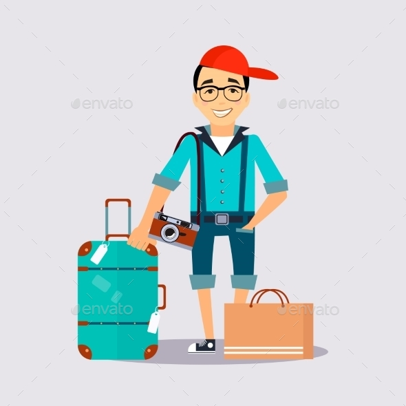 Man With The Luggage Traveler Colourful Vector - Miscellaneous Vectors