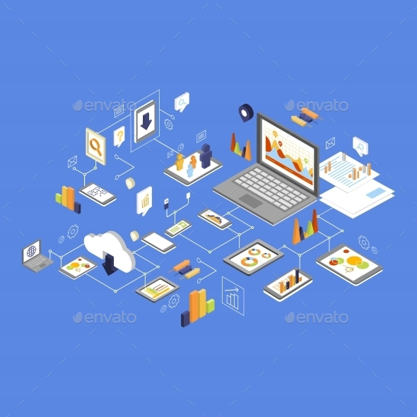 Data Storage And Technology Isometric Vector - Computers Technology