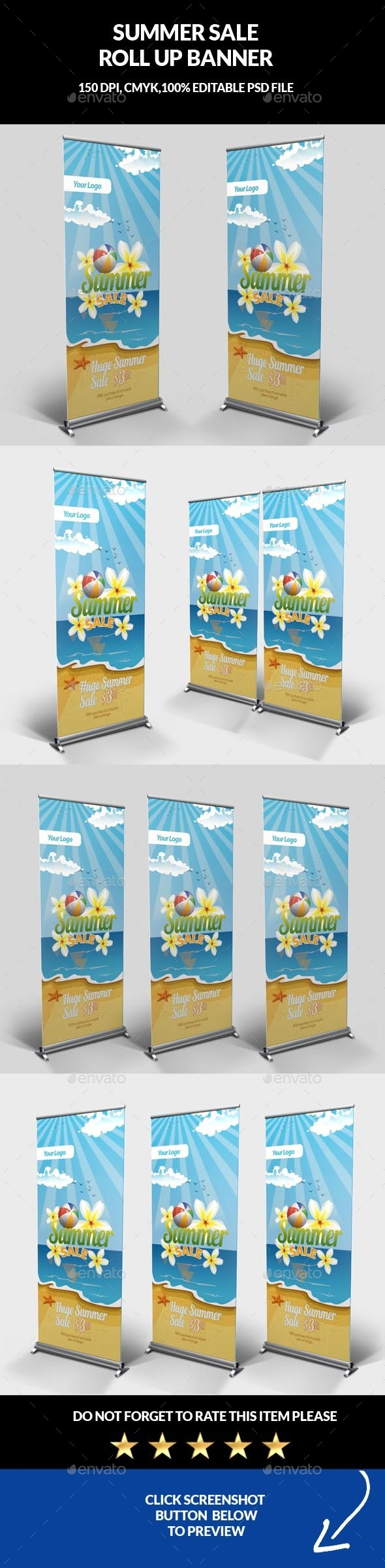Summer Sale Roll Up Banner - Signage Print Templates