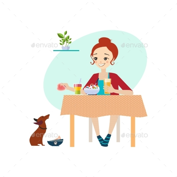 Eating At Home. Daily Routine Activities Of Women - People Characters