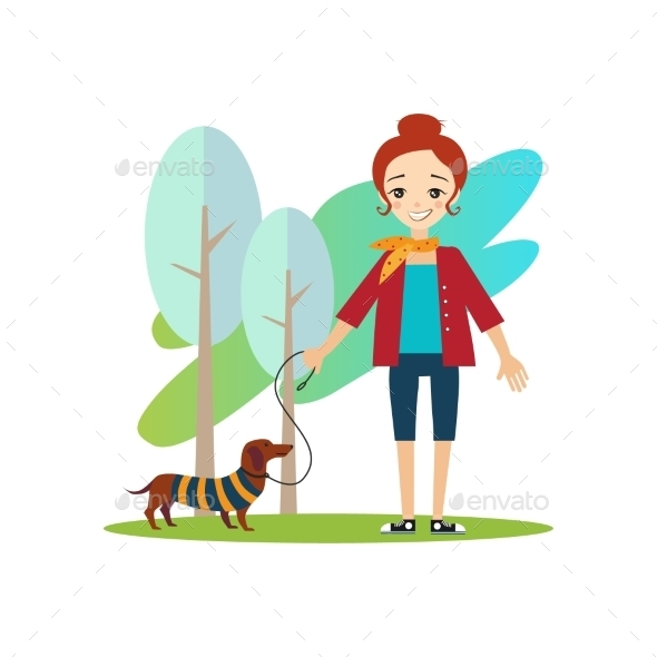 Walking a Dog. Daily Routine Activities Of Women - People Characters