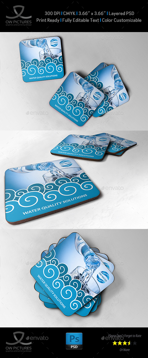 Water Technology Coaster Template - Miscellaneous Print Templates