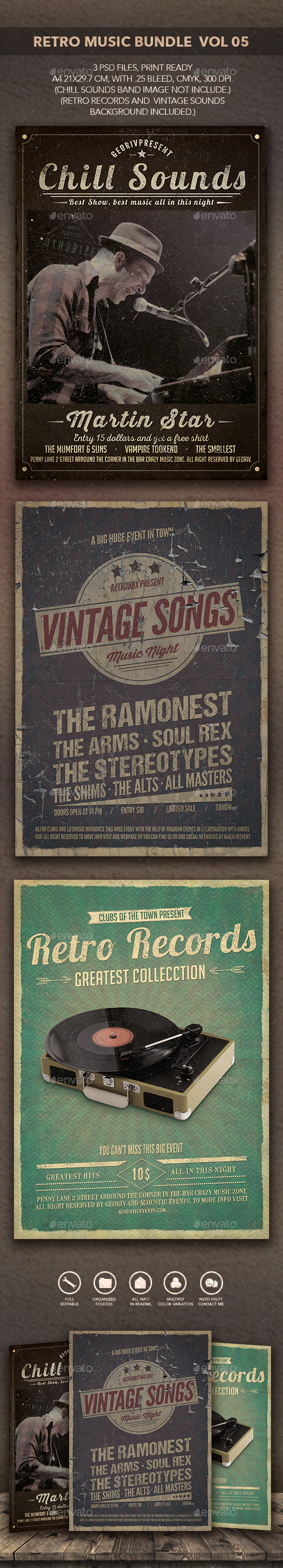 Retro Music Bundle Vol 05 - Flyers Print Templates