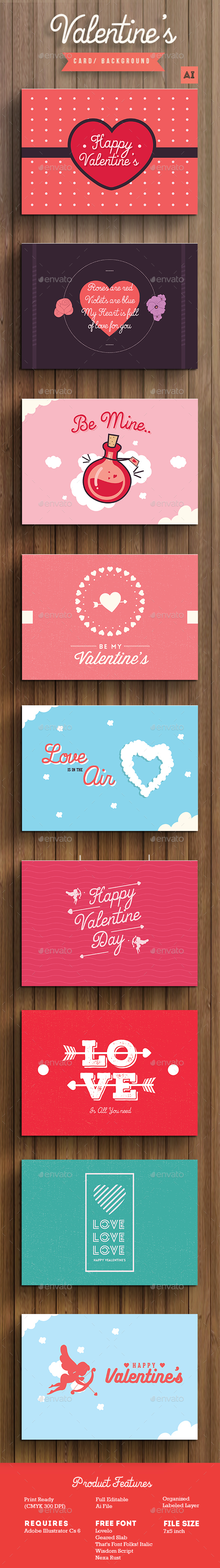Valentine's Card / Background - Cards & Invites Print Templates