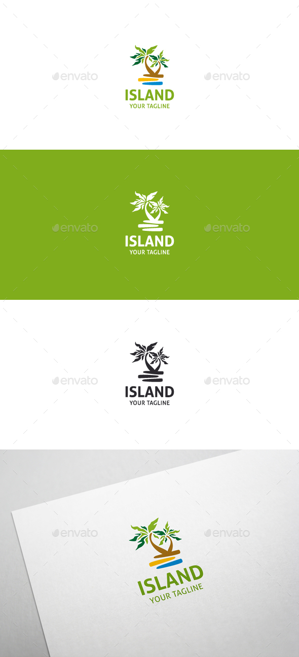 Tropical Island Logo - Nature Logo Templates