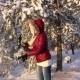 Lovers Play Snowballs In Winter Forest 1097 - VideoHive Item for Sale