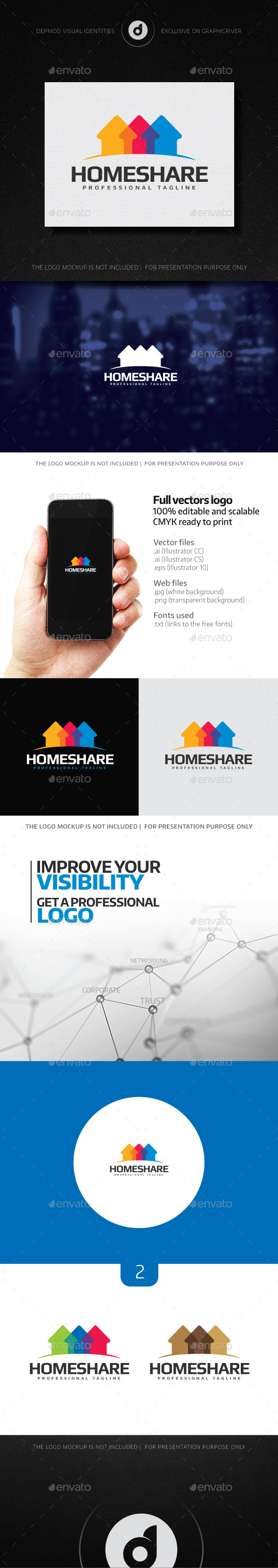 Home Share Logo - Buildings Logo Templates