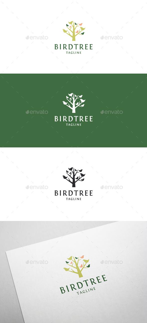 Bird Tree Logo Template - Nature Logo Templates