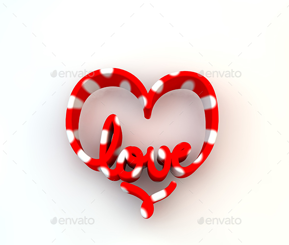 3D Love word - Text 3D Renders