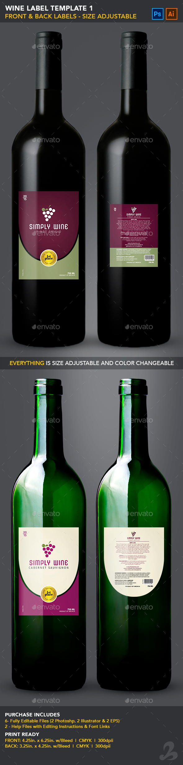 Simple Wine Label Templates By CreativB GraphicRiver - Wine label size template