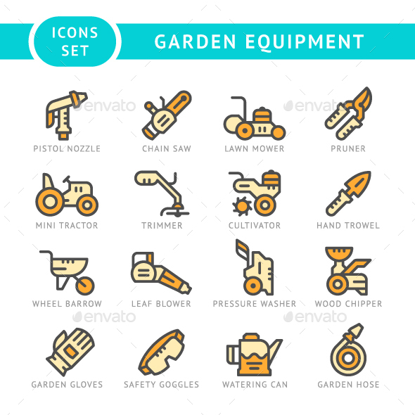 Set Line Icons of Garden Equipment - Man-made objects Objects