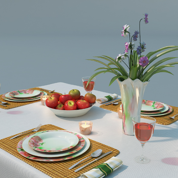 Dinner set on table - 3DOcean Item for Sale