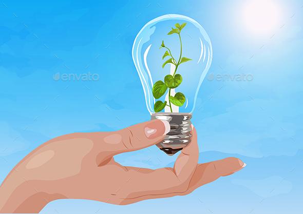 Holding Light Bulb - Miscellaneous Vectors