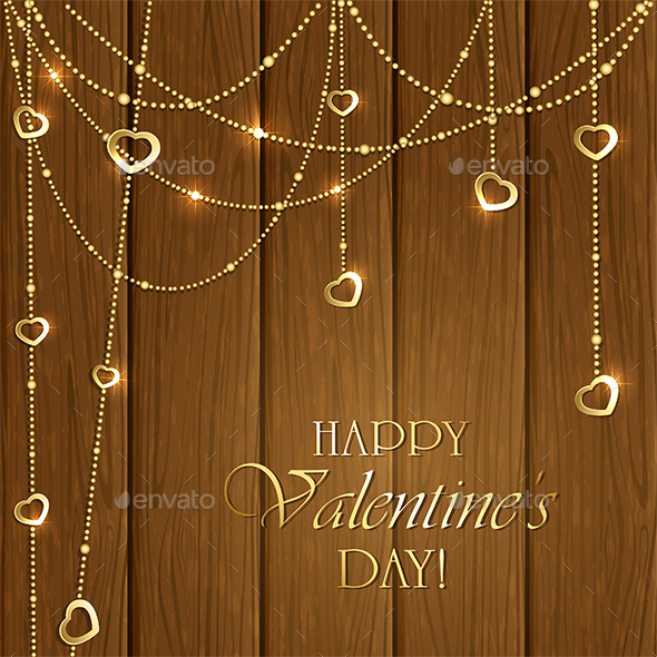 Valentines Decorations on a Wooden Background - Valentines Seasons/Holidays