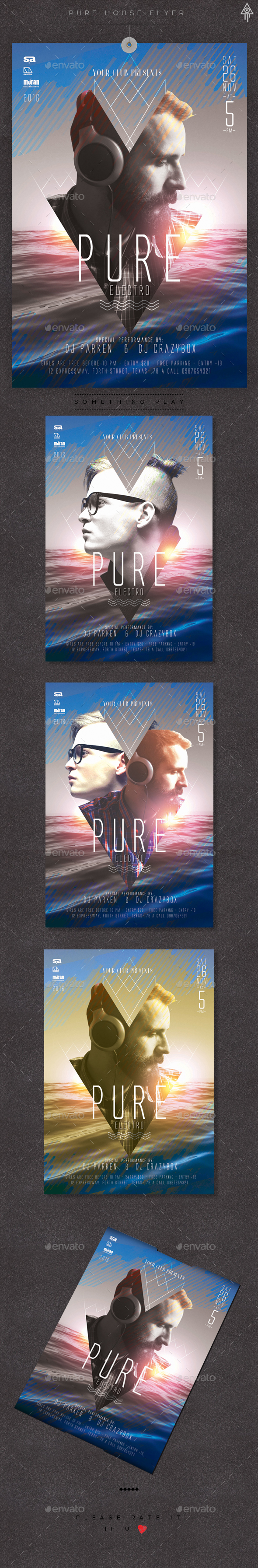 Pure House Flyer - Clubs & Parties Events