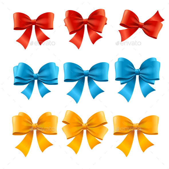 Satin Colorful Bow Set - Decorative Symbols Decorative