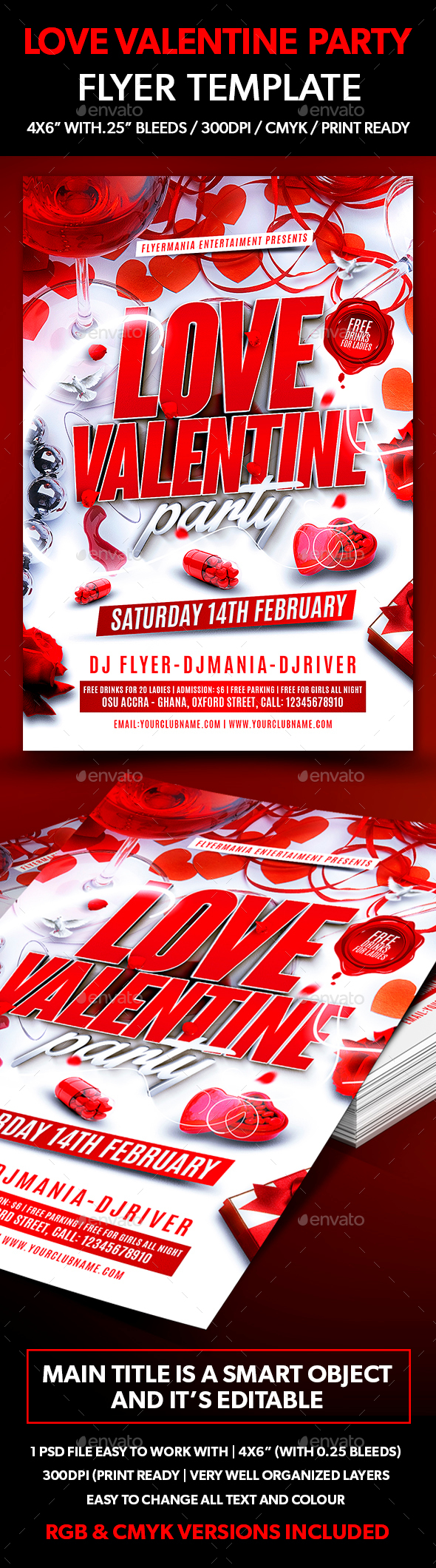 Love Valentine Party Flyer Template - Events Flyers