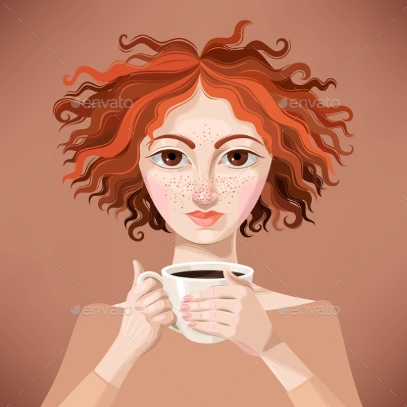 Ginger Girl With Coffee - People Characters