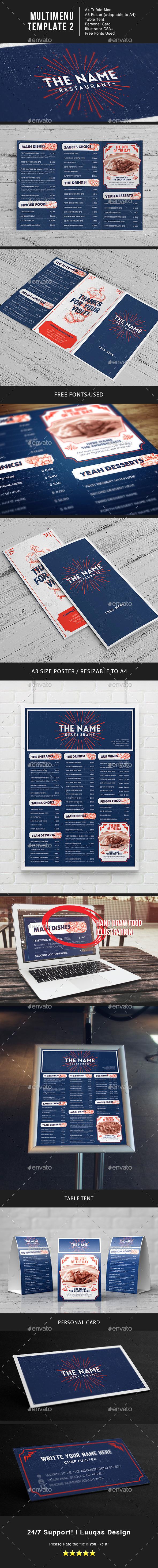 Multi Menu Illustrator Template 2 - Food Menus Print Templates