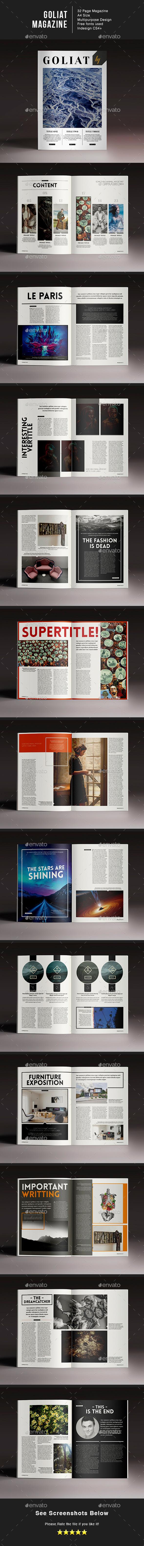 Goliat Magazine Indesign Template - Magazines Print Templates