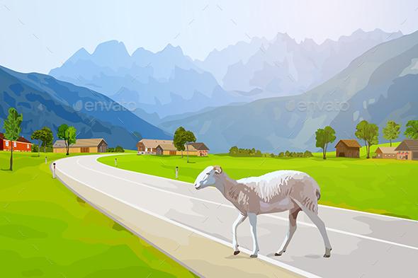 Sheep walking - Landscapes Nature