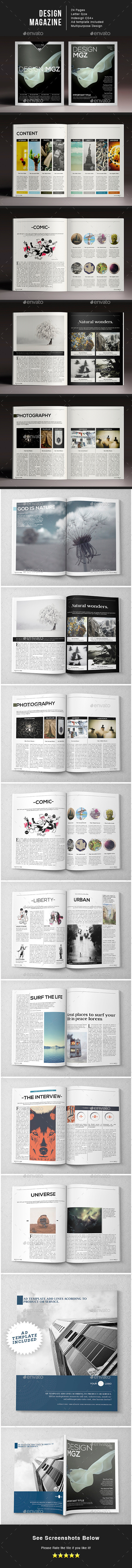 Design Magazine 1 Indesign Template - Magazines Print Templates