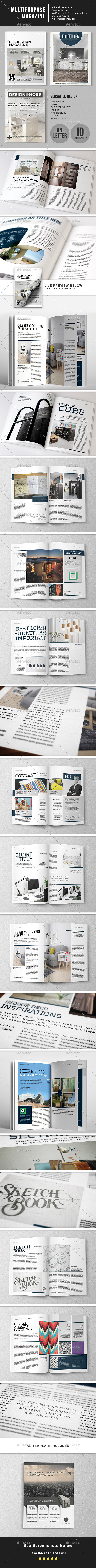 Multipurpose 44 Page Magazine Template- A4 + Letter - Magazines Print Templates
