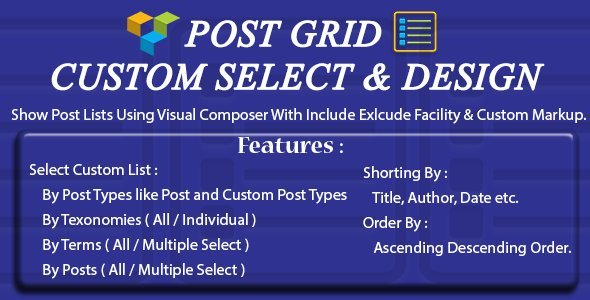 Visual Composer - Post - Custom Select & Custom Design - CodeCanyon Item for Sale
